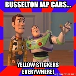 Everywhere - BUSSELTON JAP CARS...  YELLOW STICKERS EVERYWHERE!