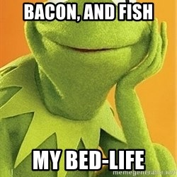 Kermit the frog - bacon, and fish my bed-life