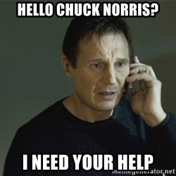 I don't know who you are... - Hello Chuck norris? I Need your help