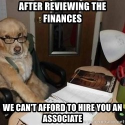 Financial advisor dog - After reviewing the finances we can't afford to hire you an associate