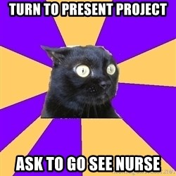 Anxiety Cat - turn to present project ask to go see nurse