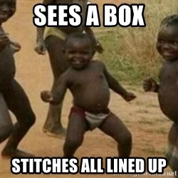 Black Kid - SEES A BOX STITCHES ALL LINED UP