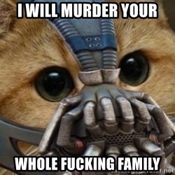 bane cat - I WILL MURDER YOUR WHOLE FUCKING FAMILY