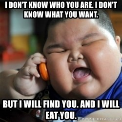 fat chinese kid - I don't know who you are. i don't know what you want. but i will find you. and i will eat you.