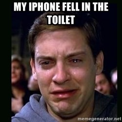 crying peter parker - my iphone fell in the toilet