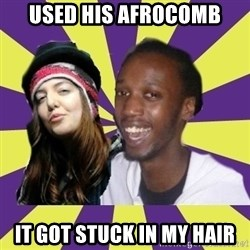 Interracial Couple - Used his afrocomb it got stuck in my hair