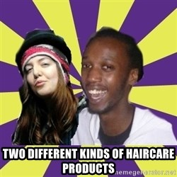 Interracial Couple -  Two different kinds of haircare products