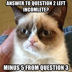 Grumpy Cat  - ANSWER TO QUESTION 2 LEFT INCOMLETE? MINUS 5 FROM QUESTION 3