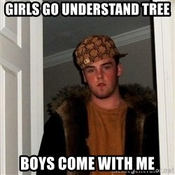 Scumbag Steve - girls go understand tree boys come with me