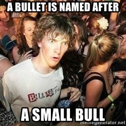 -Sudden Clarity Clarence - A Bullet is named after a small bull