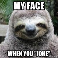 "Sexual Sloth - my face when you ""joke"""