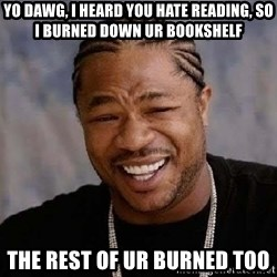 Yo Dawg - yo dawg, i heard you hate reading, so i burned down ur bookshelf the rest of ur burned too