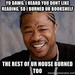 Yo Dawg - yo dawg, i heard you dont like reading, so i burned ur bookshelf the rest of ur house burned too