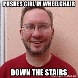 Asshole Christian missionary - pushes girl in wheelchair down the stairs