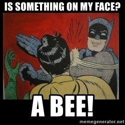 Batman Slappp - is something on my face? a BEE!