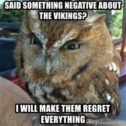 Overly Angry Owl - Said something Negative about the Vikings? I will make them regret eVerytHing