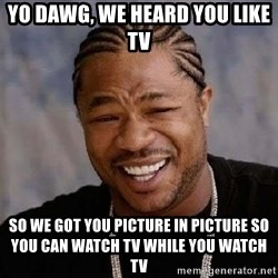 Yo Dawg - yo dawg, we heard you like tv so we got you picture in picture so you can watch tv while you watch tv