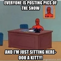 Spiderman Desk - Everyone is posting pics of the snow And I'm just sitting herE- ooo A kiTty!