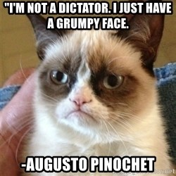 "Grumpy Cat  - ""I'm not a dictator. I just have a grumpy face. -Augusto pinochet"
