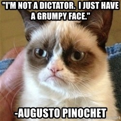 "Grumpy Cat  - ""I'm not a dictator.  I just have a grumpy face."" -Augusto Pinochet"