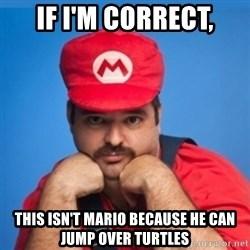 SUPERSEXYMARIO - IF I'M CORRECT, THIS ISN'T MARIO BECAUSE HE CAN JUMP OVER TURTLES