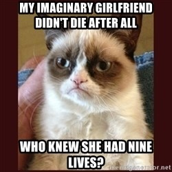 Tard the Grumpy Cat - my imaginary girlfriend didn't die after alL who knew she had nine lives?