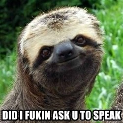 Sarcastic Sloth -  did i fukin ask u to speak