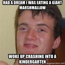 really high guy - Had a dream I was eating a giant marshmallow woke up crashing into a kindergarten
