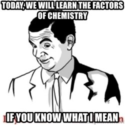 Mr.Bean - If you know what I mean - TODAY, WE WILL LEARN THE FACTORS OF CHEMISTRY IF YOU KNOW WHAT I MEAN