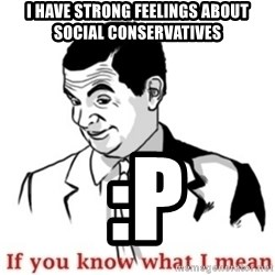 Mr.Bean - If you know what I mean - I have strong feelings about social conservatives  :P