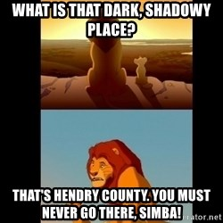 Lion King Shadowy Place - What is that dark, shadowy place? that's hendry county. you must never go there, simba!