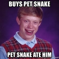 Bad Luck Brian - buys pet snake pet snake ate him