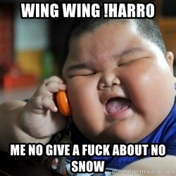 fat chinese kid - wing wing !Harro me no give a fuck about no snow
