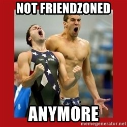 Ecstatic Michael Phelps - not friendzoned anymore