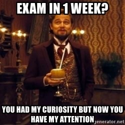 Django Unchained Attention - Exam in 1 week? You had my curiosity but now you have my attention