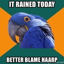 Paranoid Parrot - it rained today better blame haarp