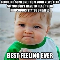 Victory Baby - Blocking someone from your news feed so you don't have to read their ridiculous statue updates Best feeling ever