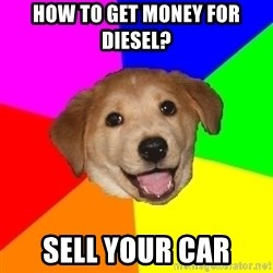 Advice Dog - how to get money for diesel? sell your car