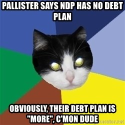 "Winnipeg Cat - pallister says ndp has no debt plan obviously, their debt plan is ""more"", c'mon dude"