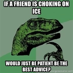Philosoraptor - If a friend is choking on ice would just be patient be the best advice?