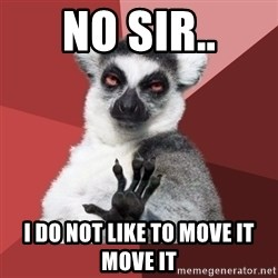 Chill Out Lemur - NO SIR.. I DO NOT LIKE TO MOVE IT MOVE IT