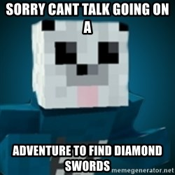 R-Panda - SORRY CANT TALK GOING ON A  ADVENTURE TO FIND DIAMOND SWORDS