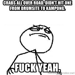 Fuck Yeah - Crabs all over road. didn't hit one from drumsite to kampong. fuck yeah.