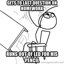Desk Flip Rage Guy - Gets to last question on homework runs out of led for his pencil