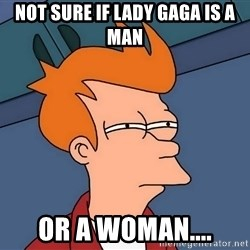 Futurama Fry - not sure if lady gaga is a man or a woman....