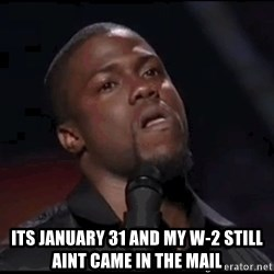 kevin hart playoffs -  its january 31 and my w-2 still aint came in the mail