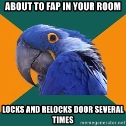 Paranoid Parrot - about to fap in your room locks and relocks door several times