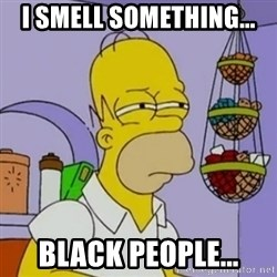 Simpsons' Homer - i smell something... black people...