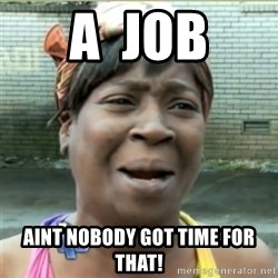 Ain't Nobody got time fo that - A  Job Aint nobody got time for that!