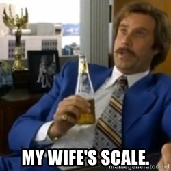 That escalated quickly-Ron Burgundy -  MY WIFE'S SCALE.